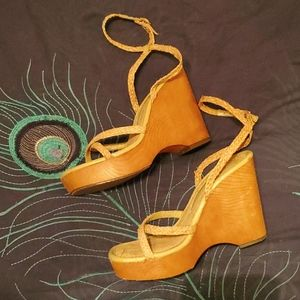 New Chinese Laundry ankle strap wedge shoe